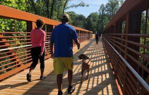 people crossing a bridge in High Point, North Carolina